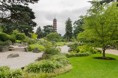 Pagoda with the Japanese raked garden in the foreground